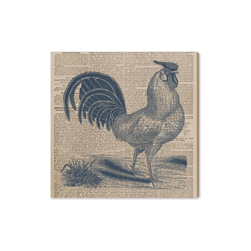 Rooster Newspaper Canvas Wall Art