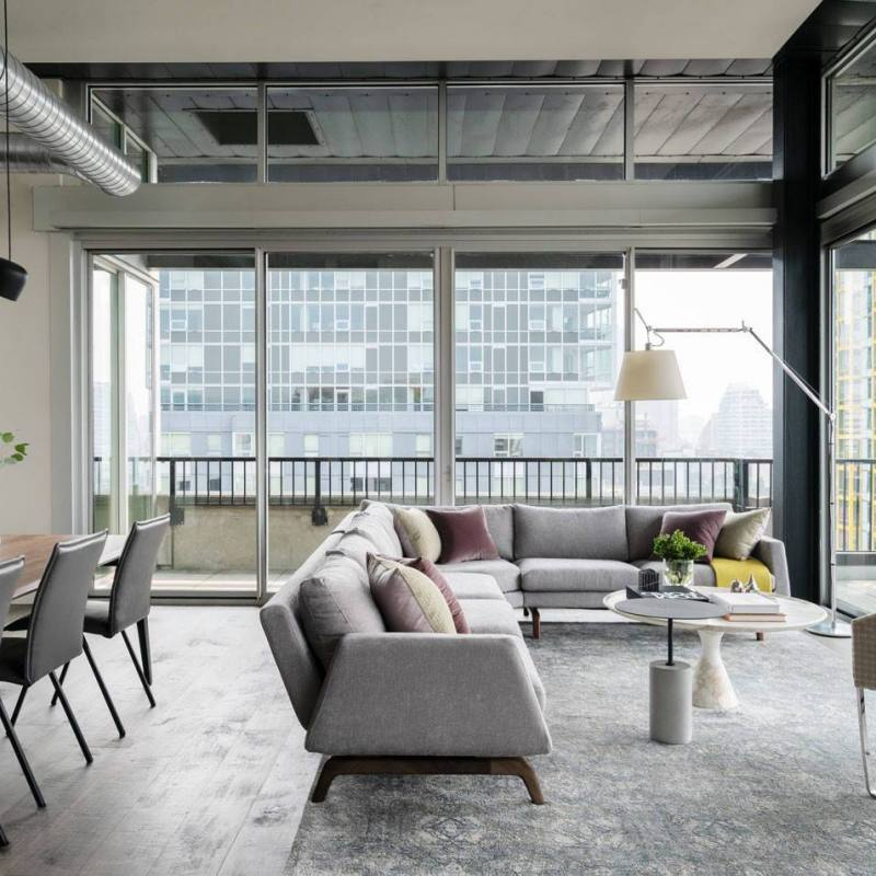 Contemporary grey industrial loft living room