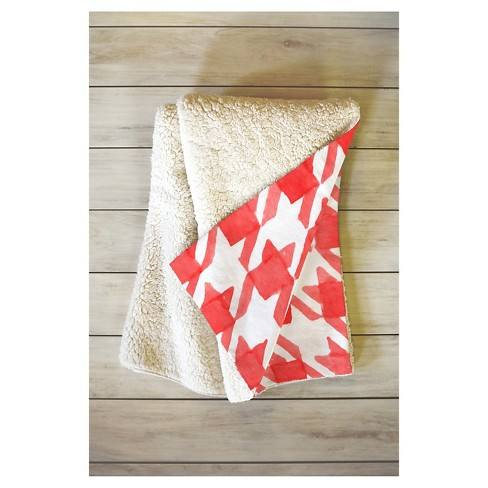 "Red Geometric Social Proper Candy Houndstooth Sherpa Throw Blanket (50""X60"") - Deny Designs�"