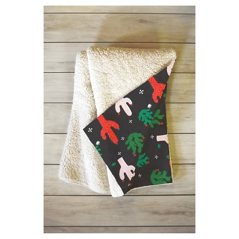 "Green Geometric Zoe Wodarz Cactus Christmas Sherpa Throw Blanket (50""X60"") - Deny Designs�"