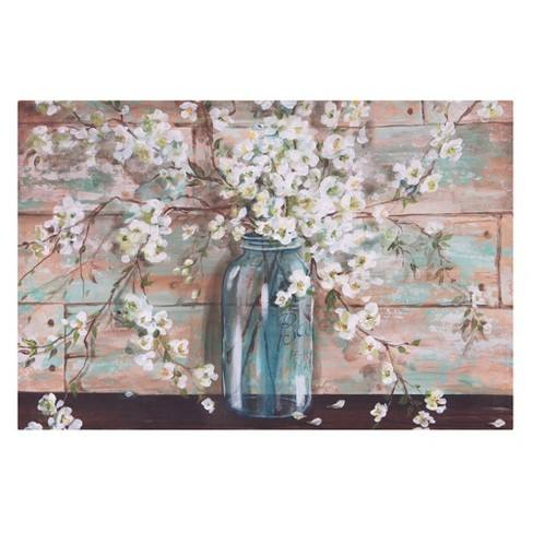 "24""x36"" Blooms In Mason Jar Floral Canvas Art Light Blue - Patton Wall Decor"