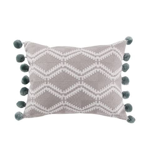 14x18 Shealeen Geo Large Pom Pillow Gray - Mudhut