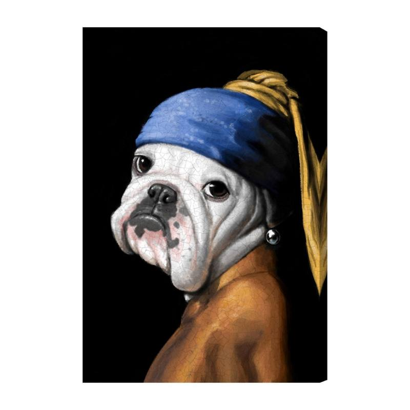 Dog with the Pearl Earring Canvas Wall Art