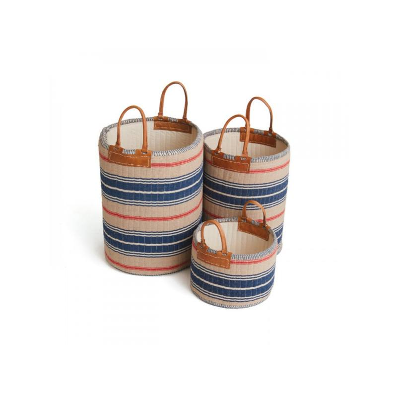 Skipper Baskets, Navy and Beige (Set of 3)