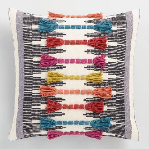 Multicolor Embroidered Tassel Throw Pillow