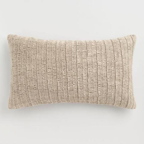 Oversized Natural Knitted Villa Rina Lumbar Pillow