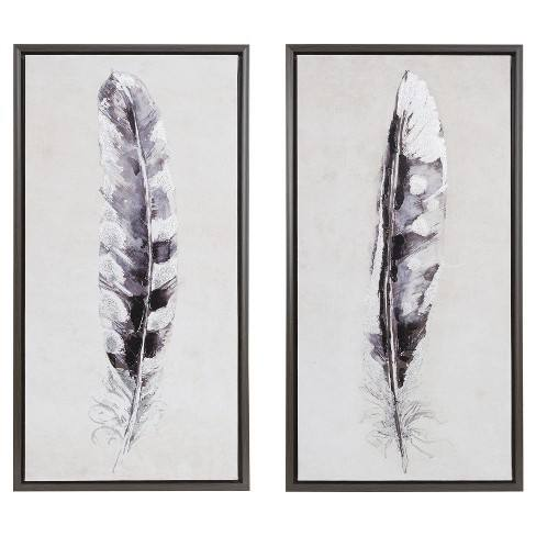 Flight Feathers Framed Gel Coat Canvas 2pc Set 19.09 X 34.06 X 3.7 - Trends International