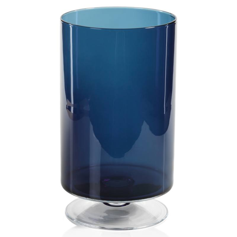 Algarv Midnight Blue Glass Hurricane Candleholder