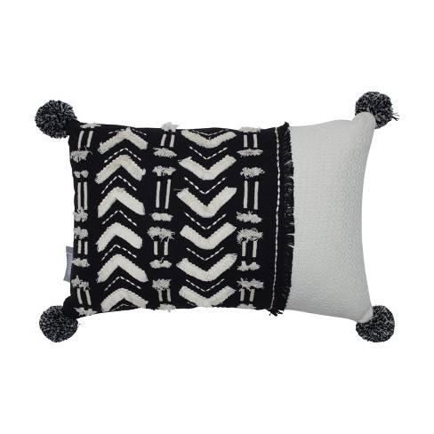 Tribal Lines Pom Pom Tasseled Lumbar Throw Pillow Black/White - Pillow Perfect