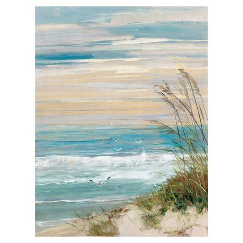 "30""x40"" Beach At Dusk By Sally Swatland Art On Canvas - Fine Art Canvas"
