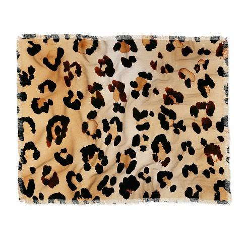 Amy Sia Animal Leopard Brown Throw Blanket Brown - Deny Designs