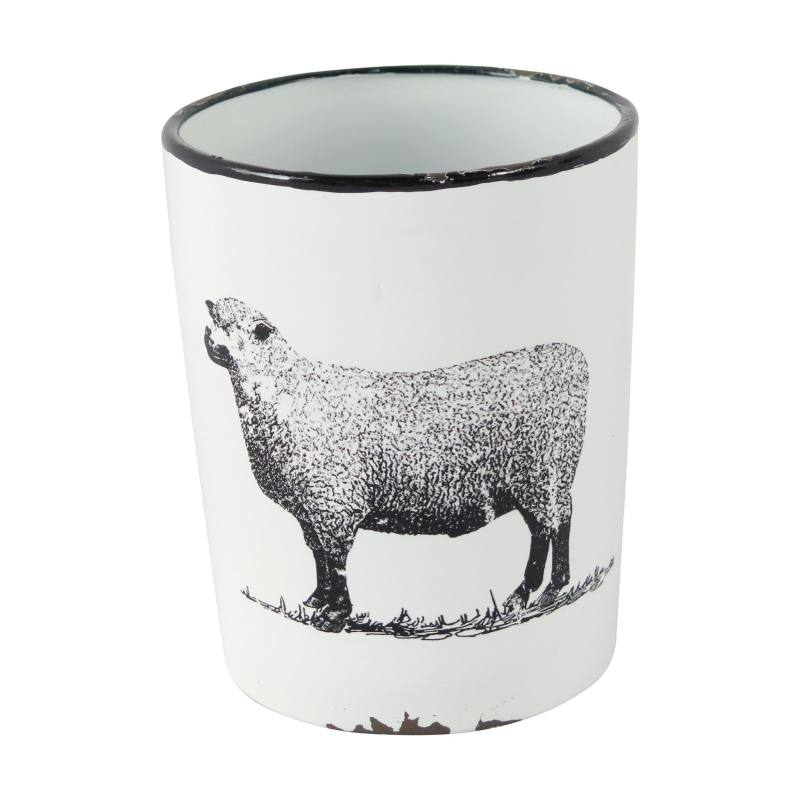 Enamel Sheep Planter with Handle