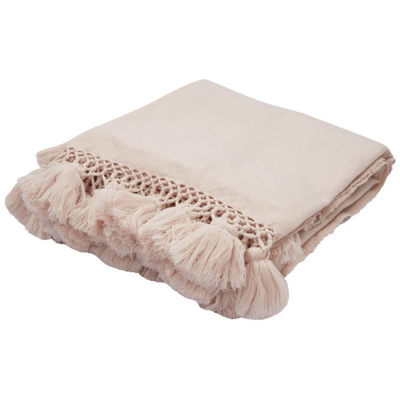 Kate Spade New York Seaport Tassel Throw, Rose Pink