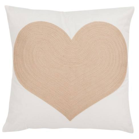 Heart Of Gold Square Throw Pillow White/Beige - Safavieh