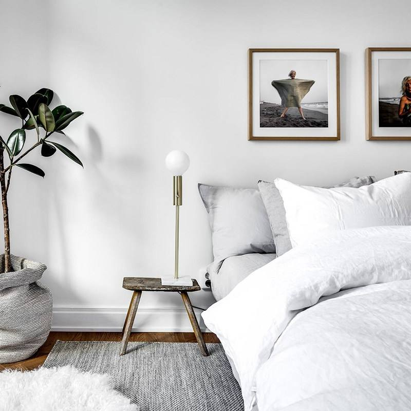 Grey simple minimalist scandinavian bedroom