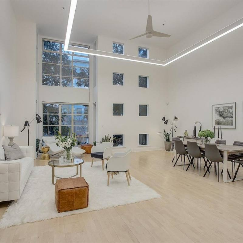 All white modern living room open concept