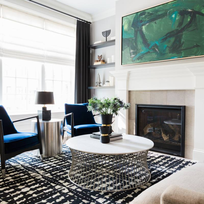 Get the Look: Modern living room with blue accents