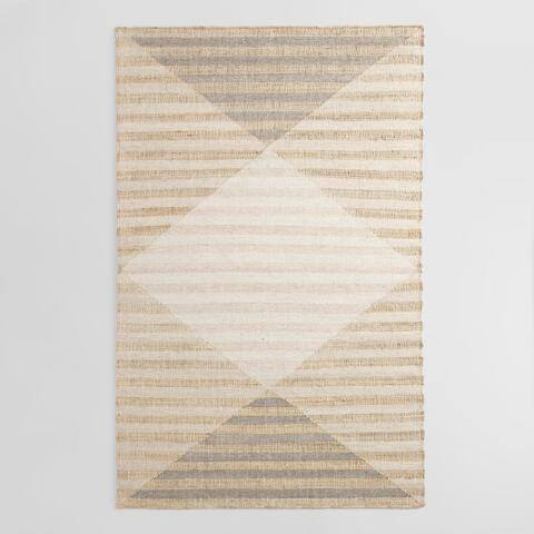 White and Tan Diamond Jute and Wool Kilim Jory Area Rug