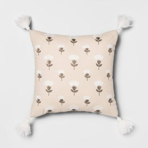 Embroidered Floral Square Throw Pillow Cream/Gray - Opalhouse�