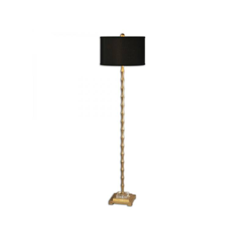 Golden Bamboo Floor Lamp, Black and Gold