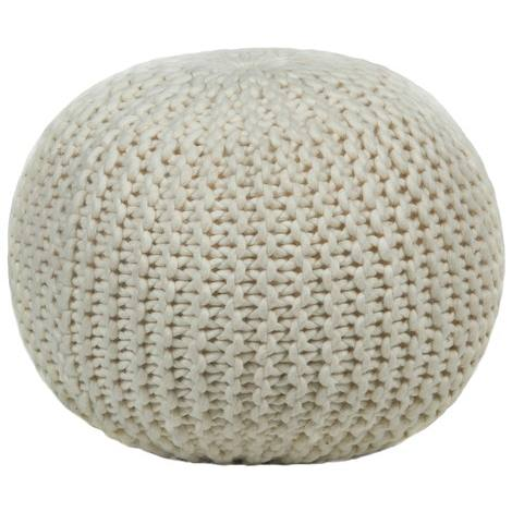 Textured Contemporary Wool Pouf - Ivory