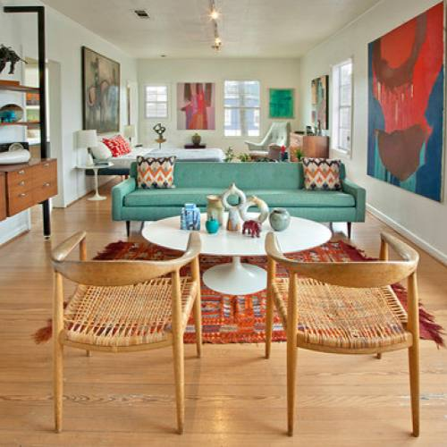 Mid-century modern colorful living room by Chris Nguyen