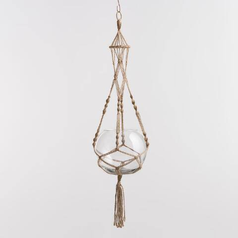 Natural Jute Macrame Plant Hanger and Bubble Vase