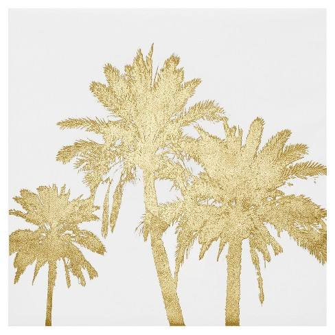 Palms Foil Embellished Canvas - Gold