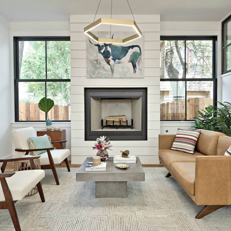 Mid-century modern meets farmhouse living room