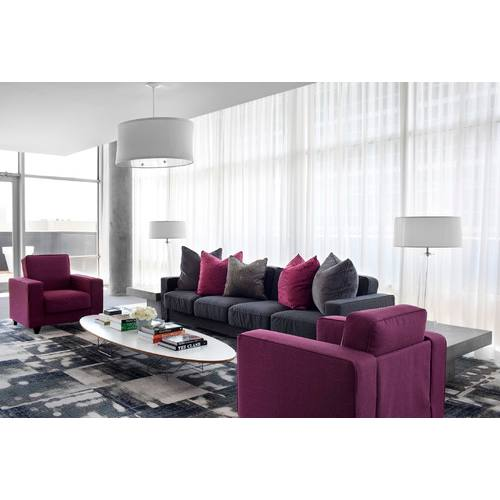Contemporary living room with purple accent
