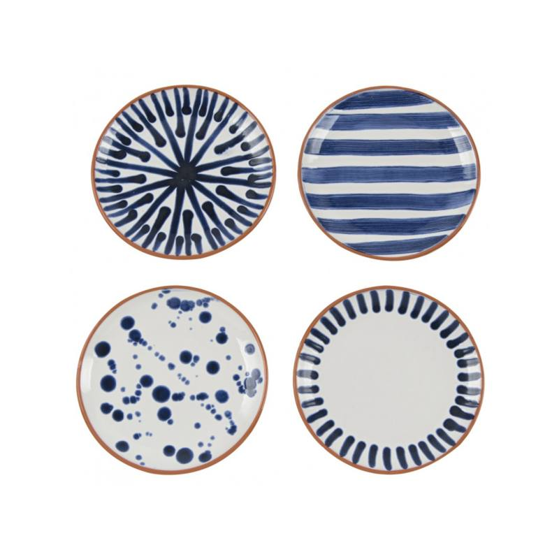 Shibori Assorted Porto Appetizer Plates (Set of 4)