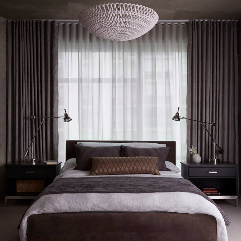 Modern dark master bedroom by jeannie balsam