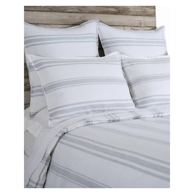 Pom Pom at Home Jackson Duvet, White and Ocean
