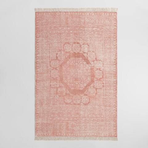 Blush Cotton Dhurrie Print Ariana Area Rug