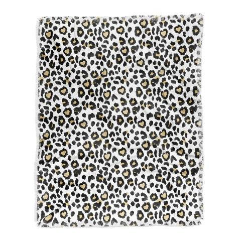 Dash and Ash Leopard Heart Throw Blanket Black/White - Deny Designs