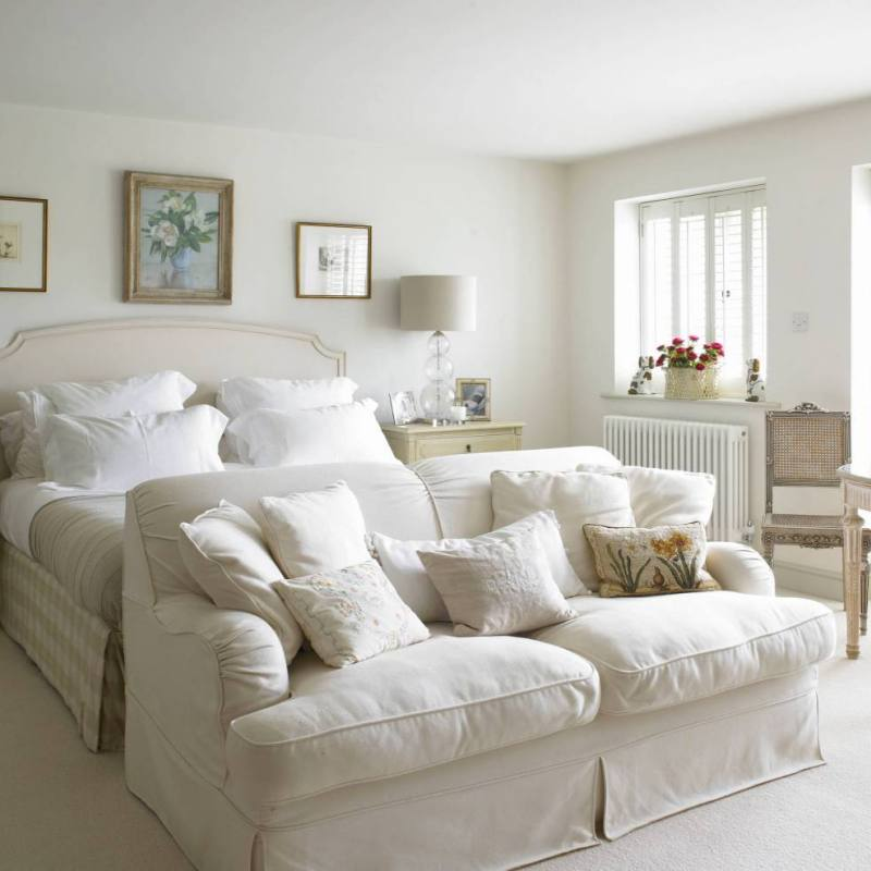 French country cream neutral elegant master bedroom
