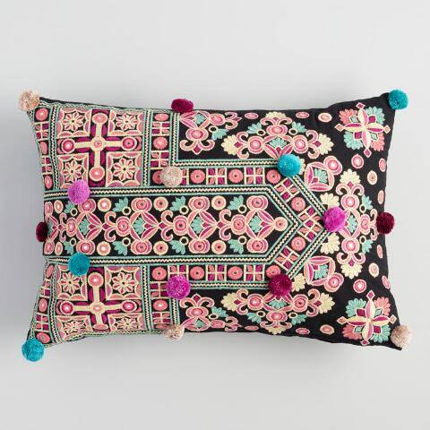Black Temple Pom Pom Lumbar Pillow