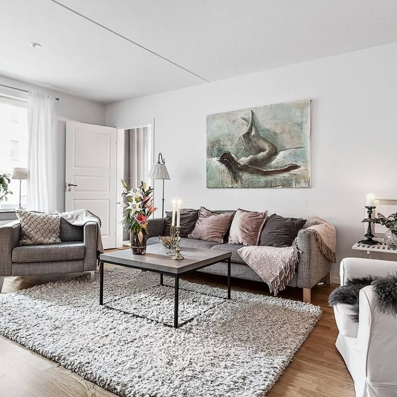 Grey and blush Scandinavian living room