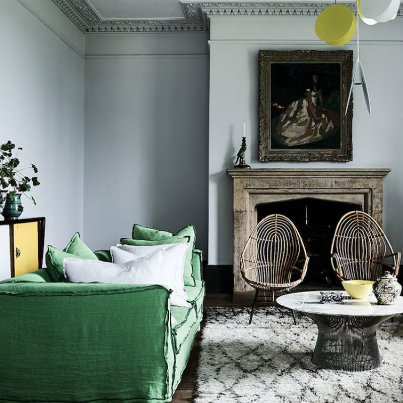 Unique eclectic comfy green sofa living room