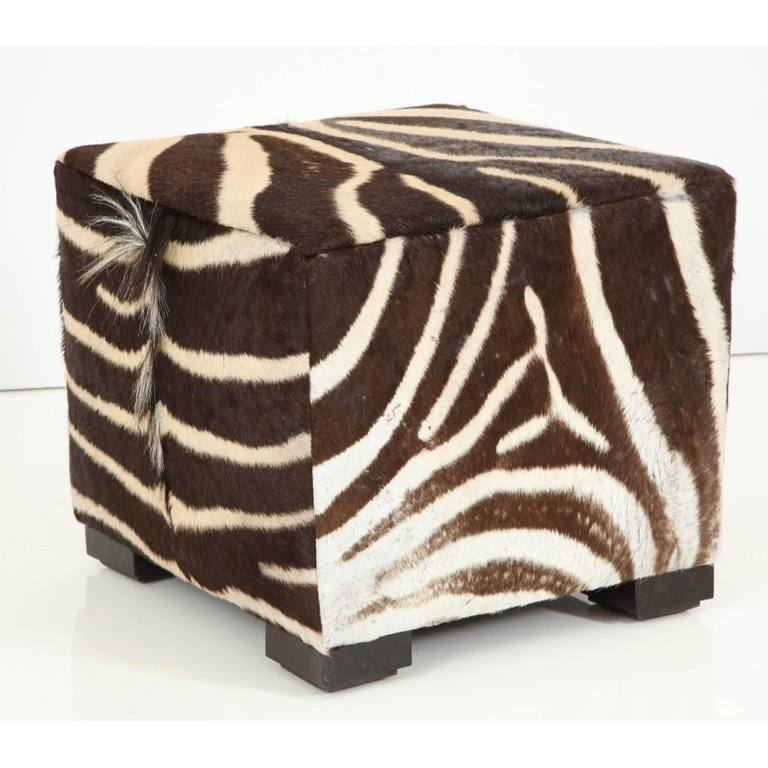 African Leather Cube Ottoman