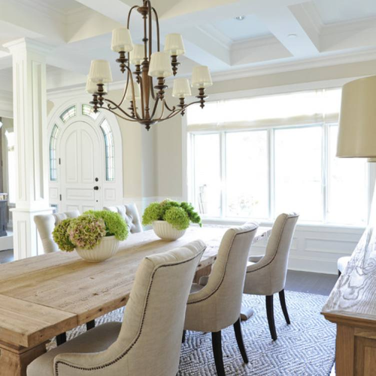 Traditional neutral colors dining room by Kerrisdale Design Inc