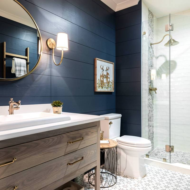 Bathroom Paint Idea with Wood trim