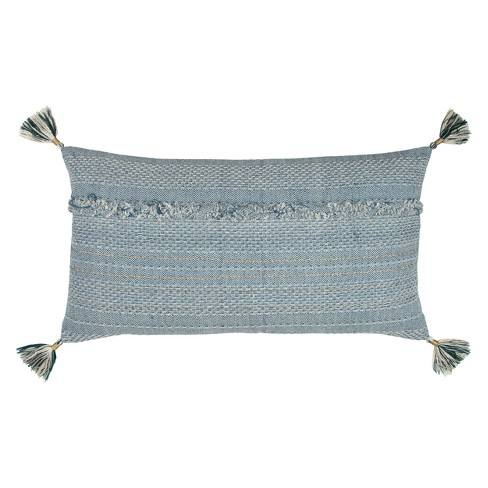 Rizzy Home Tassels Deconstructed Throw Pillow Blue