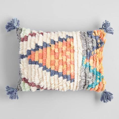 Multicolor Triangle Shag Lumbar Pillow