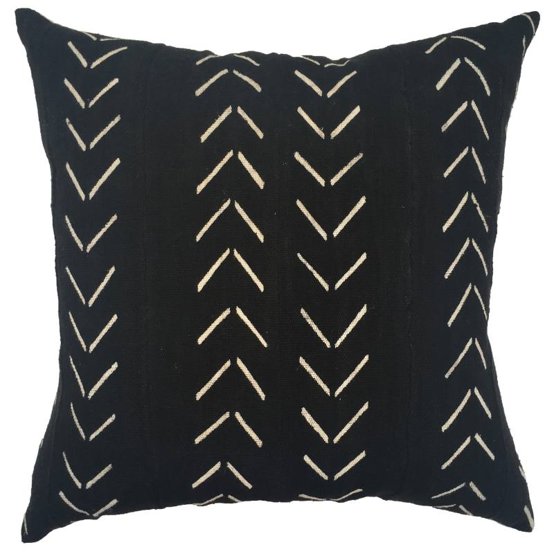 Zaina One of a Kind Black Mudcloth Pillow