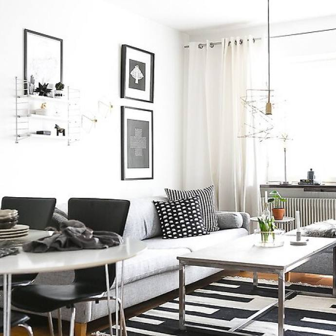 Scandinavian black and white apartment living room
