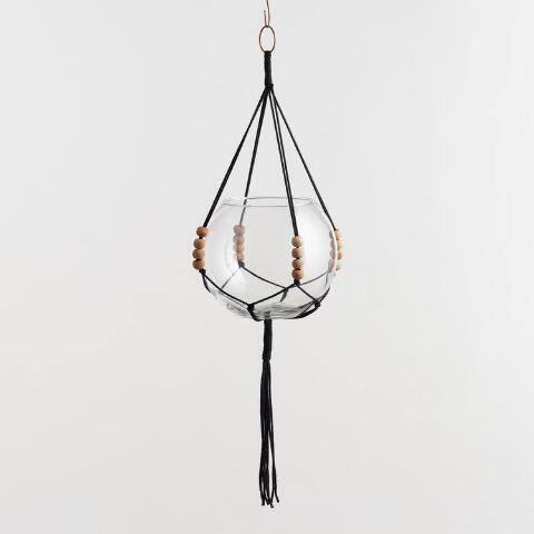 Black Bead Macrame Plant Hanger and Bubble Vase