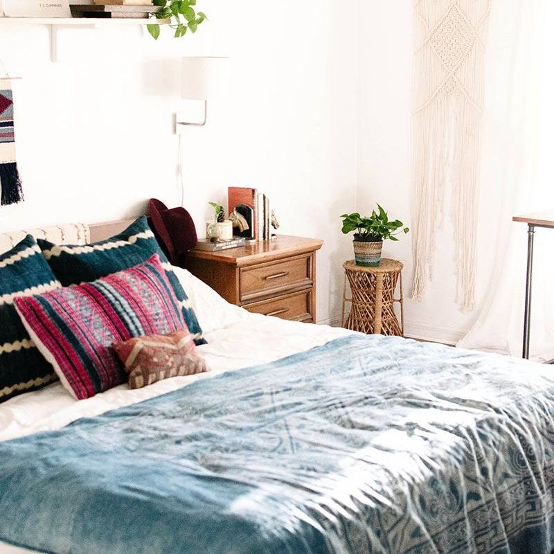 Tribal blue accent bohemian bedroom