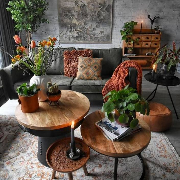 Green nature inspired dark Bohemian living room