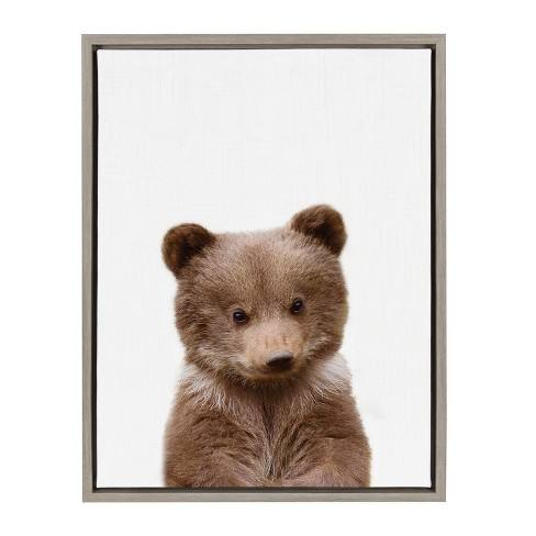 "Kate & Laurel 24""x18"" Sylvie Baby Bear Animal Print Portrait By Amy Peterson Framed Wall Canvas Gray"